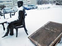 002 Gustav Fabergé pronksist infotahvel. Foto: Urmas Saard