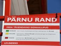 002 Punane lipp Pärnu keskrannas hoiatab sinivetikate eest. Foto: Urmas Saard