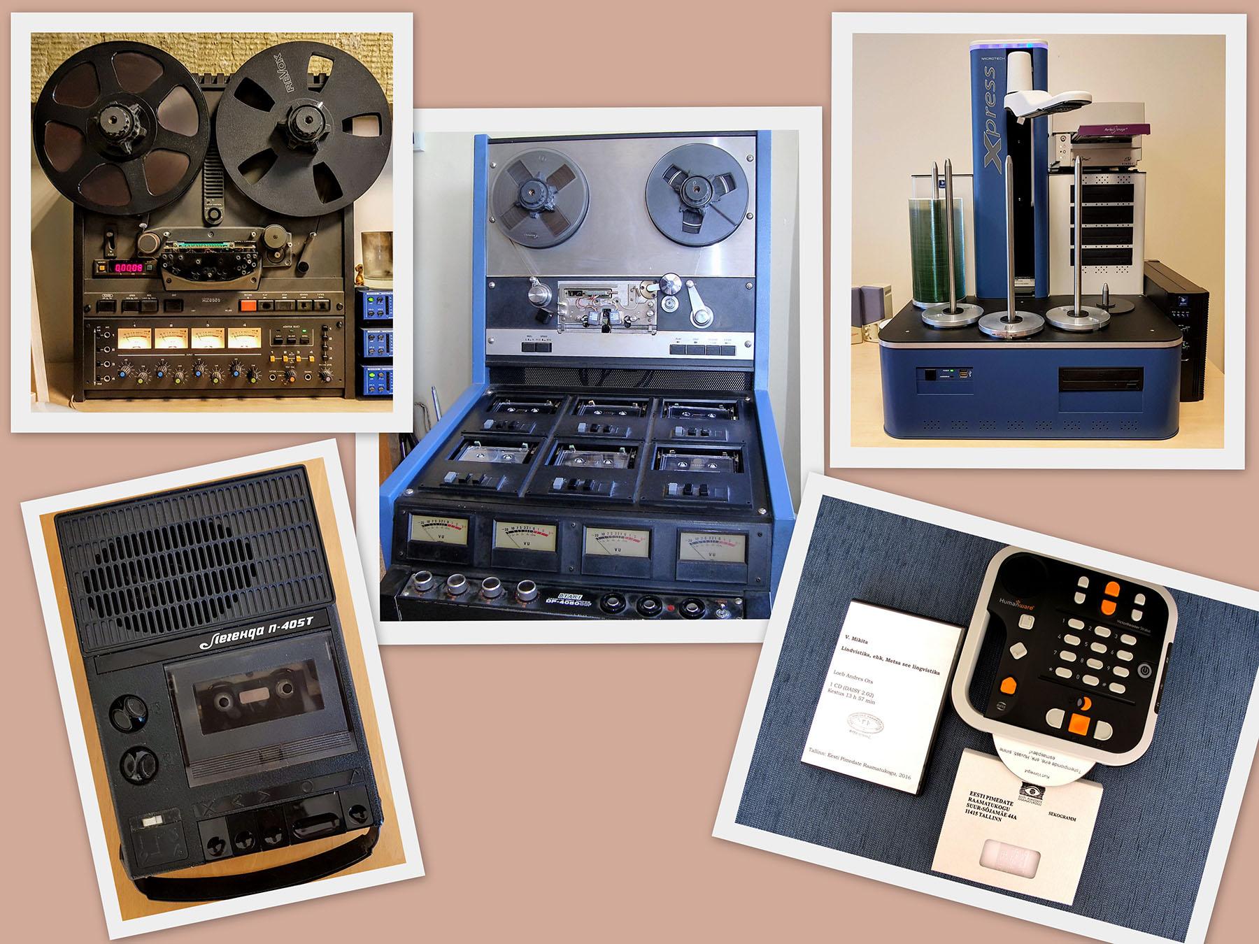 Üleval vasakult lintmagnetofon, kassetipaljundaja ja CD-de paljundusrobot, all kassettmagnetofon ja DAISY-pleier. Silva Paluvitsa fotokollaaž
