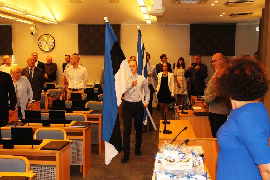 Eesti ja Tallinna lippude sissetoomise tseremoonia. Foto Jukko Nooni