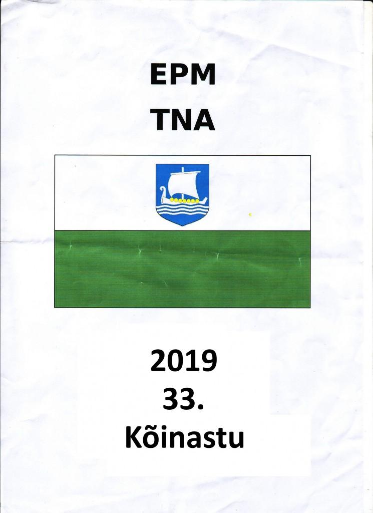 Embleem Saare maakonna ajaloolise valge-rohelise lipu kujutisega, millel laevuke ja iga-aastast matka loendav järjenumber 33