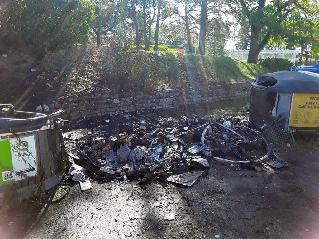 Liiva jaama põlenud pakendipunkt Foto TVO