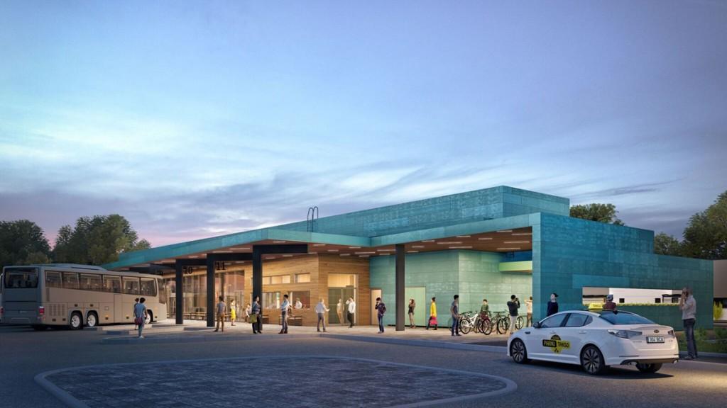Maketi vaade Pärnu uue bussijaama perroonile