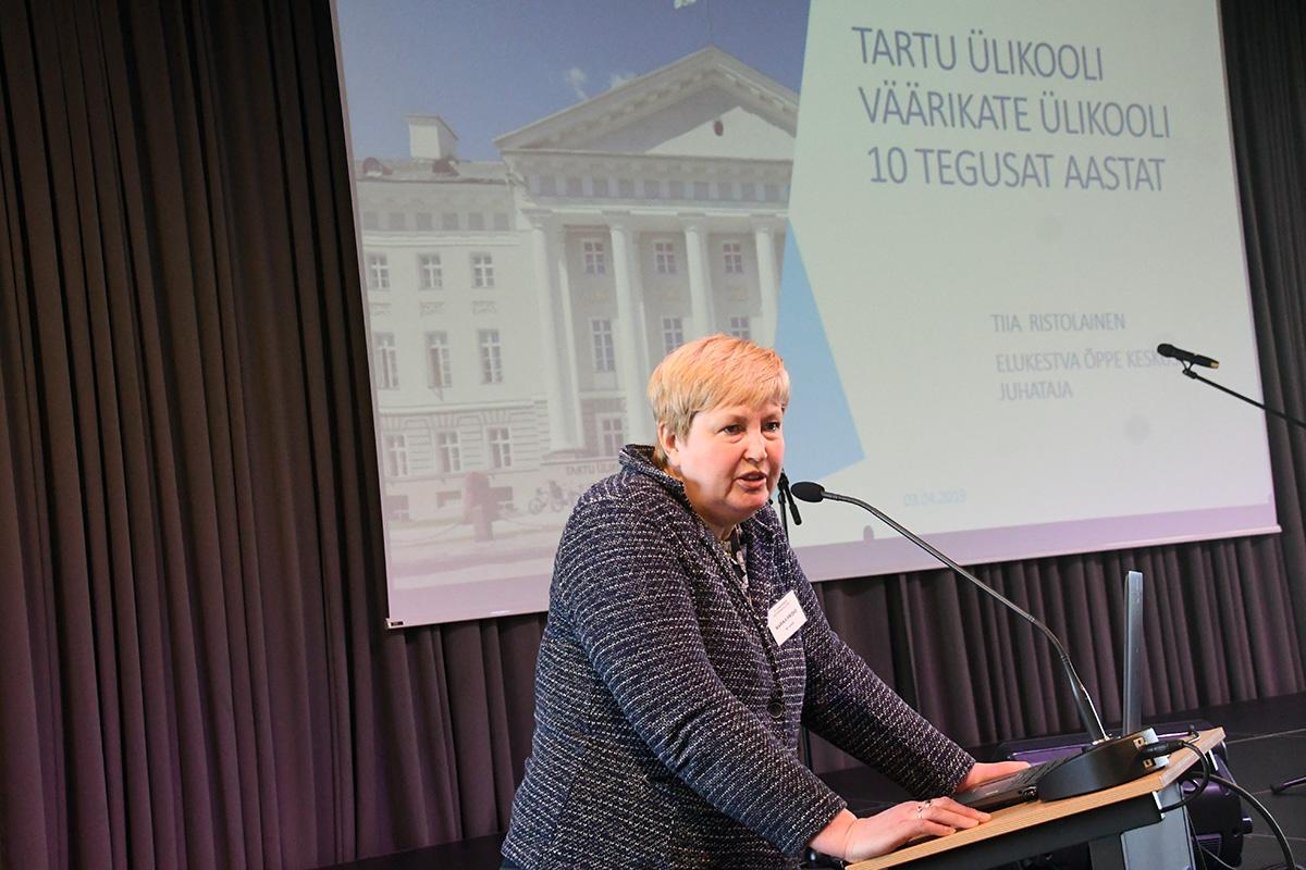 Marika Priske Pärnu konverentsil Aktiivsena eluteel. Foto Urmas Saard