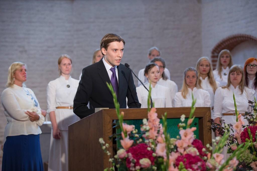 Martin Noorkõiv Tartu ülikooli avaaktusel. Foto: TÜ Üliõpilasesindus