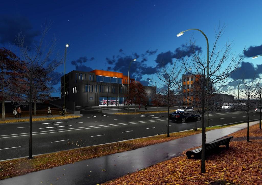 Pärnu sisejulgeoleku ühishoone eskiisil Riia maante poolselt vaatelt. Foto Riigi Kinnisvara
