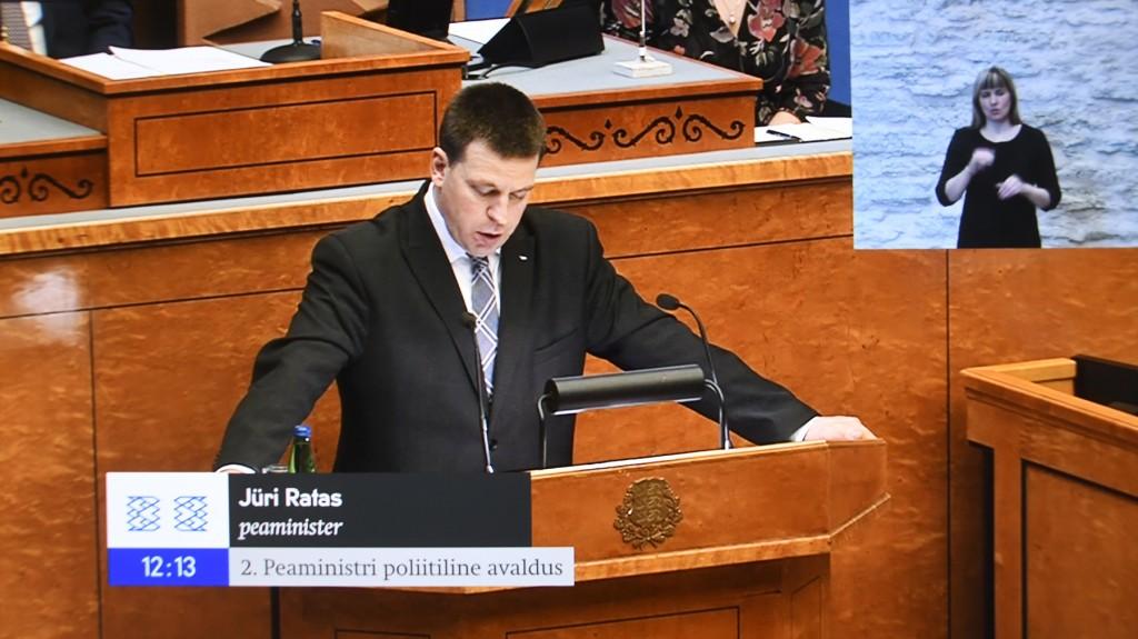 Peaminister Jüri Ratas. Kuvatõmmis Riigikogu istungi otseülekandest