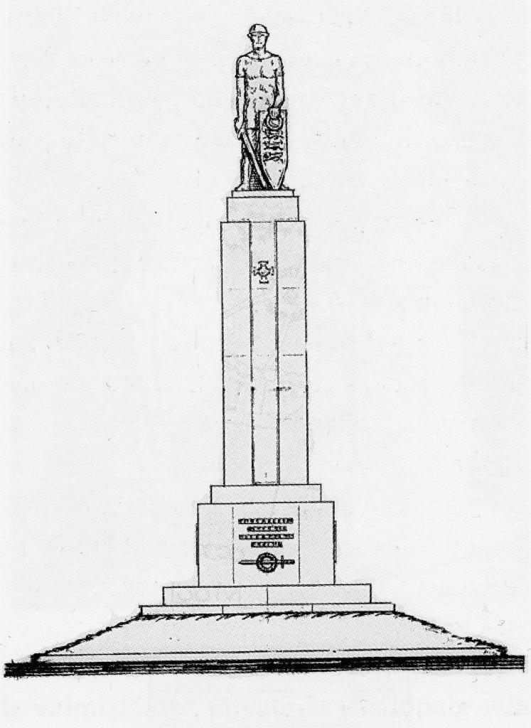Petserimaa Vabadussõja mälestussamba kavand Roman Haavamäelt. Näidis Eesti Sõjahaudade Hoolde Liidu arhiivist