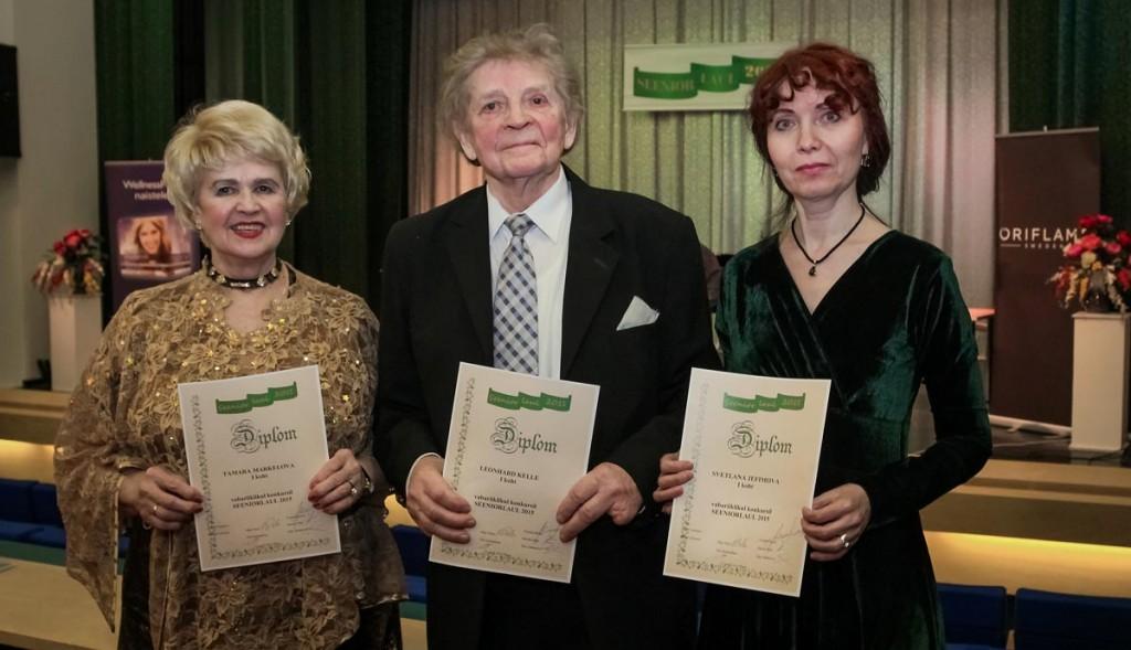 Seeniorlaul 2015 võitjad Tamara Markelova, Leonhard Kelle, Svetlana Jefimova Foto Ants Liigus