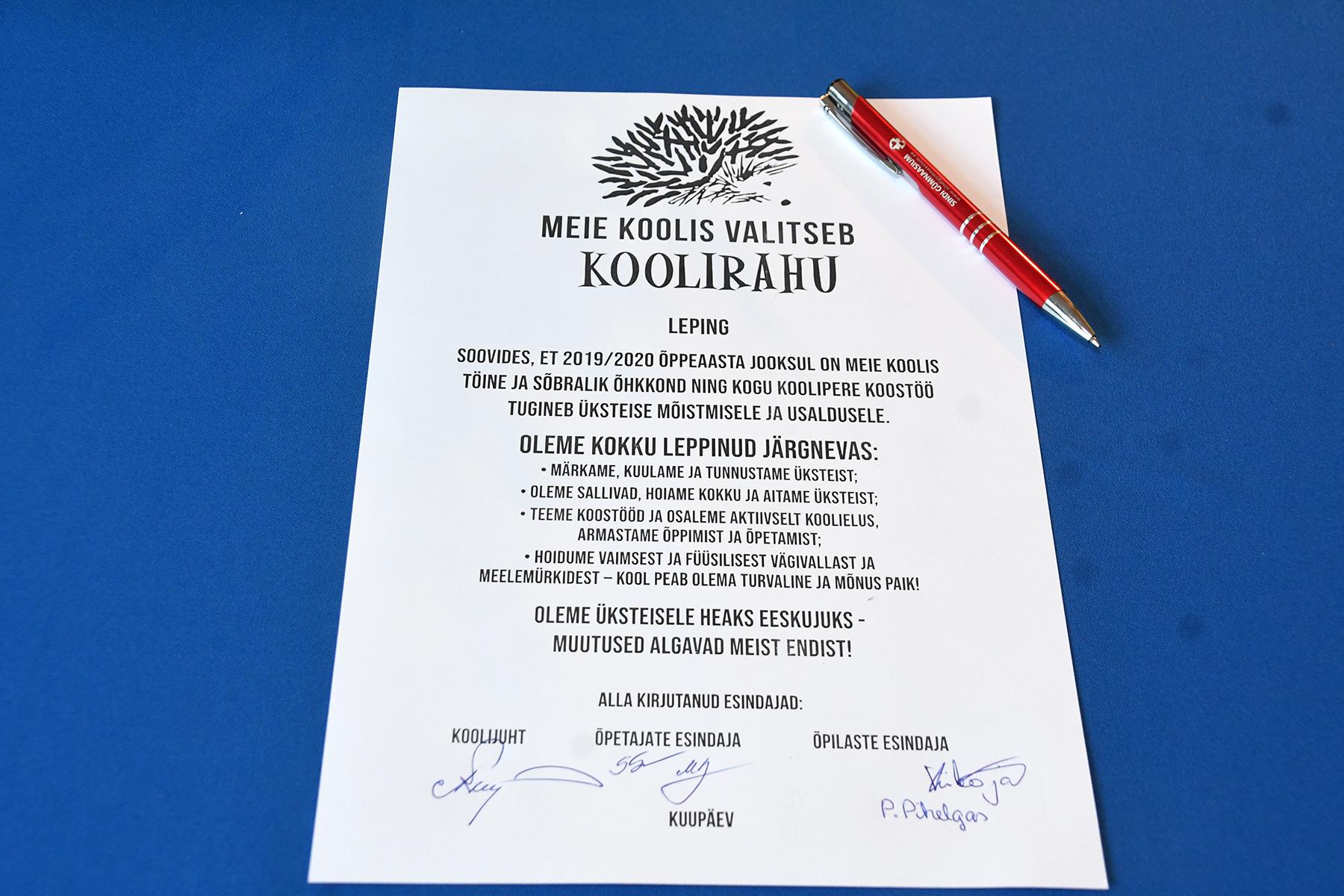 Sindi gümnaasiumis sõlmitud Koolirahu leping, 02.09.2019. Foto Urmas Saard