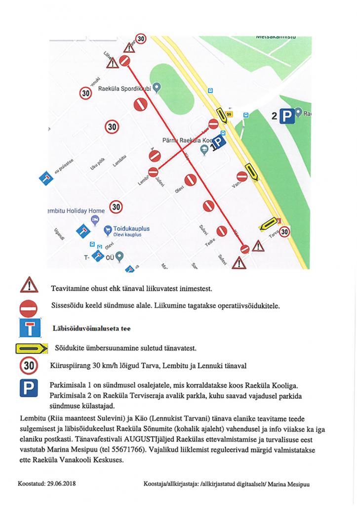 Tänavafestivali Augustijäljed Raekülas toimumise ajal suletud tänavad ja liikluse skeem