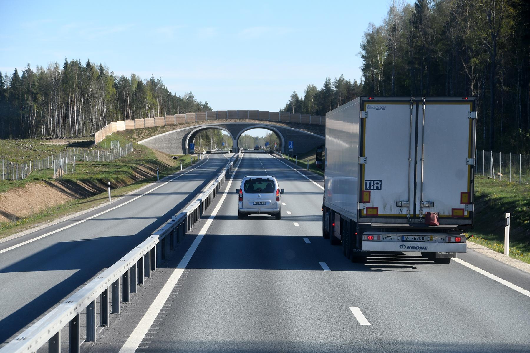 Tallinna-Pärnu maanteel Kohatu lähedal on ainult üks sõidusuundadest kaherealiseks ehitatud. Foto Urmas Saard