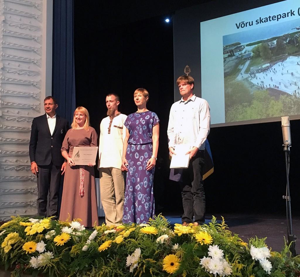 Tiina Hallimäe, Tanel Tolsting, Rein-Erik Jõe, Kersti Kaljulaid, Urmas Sõõrumaa Viljandi Sakala keskuses