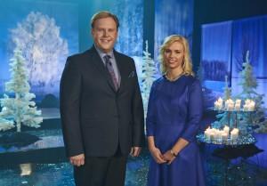 Jõulutunneli saatejuhid Urmas Vaino ja Liisu Lass.
