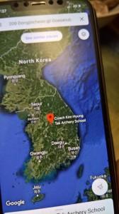 Vibutreeneri Kimi treeninglaagri nimi ja asukoht kaardil (Lõuna-Koreas), kus Reena planeerib treeninglaagrit. Foto Mikko Selg
